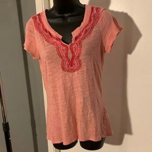 like new Lucky pink v nk embroidered shirt (6/$14)